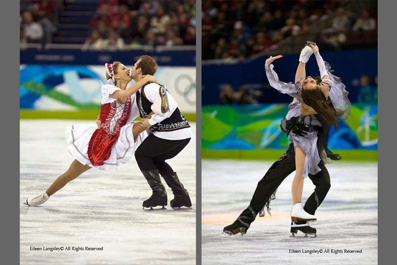 Artistry during the ice dance competition from Nora Hoffman and Maxim Zavozin (Hungary) left and Cathy and Chris Reed (Japan) right.