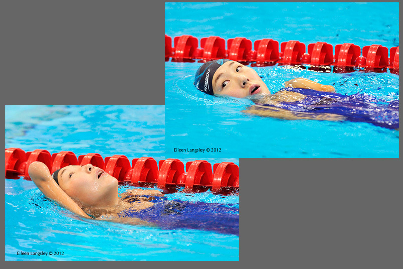 Maryna Piddubna (Ukraine) competing in the women's 100 metres freestyle S11 at the London 2012 Paralympic Games.
