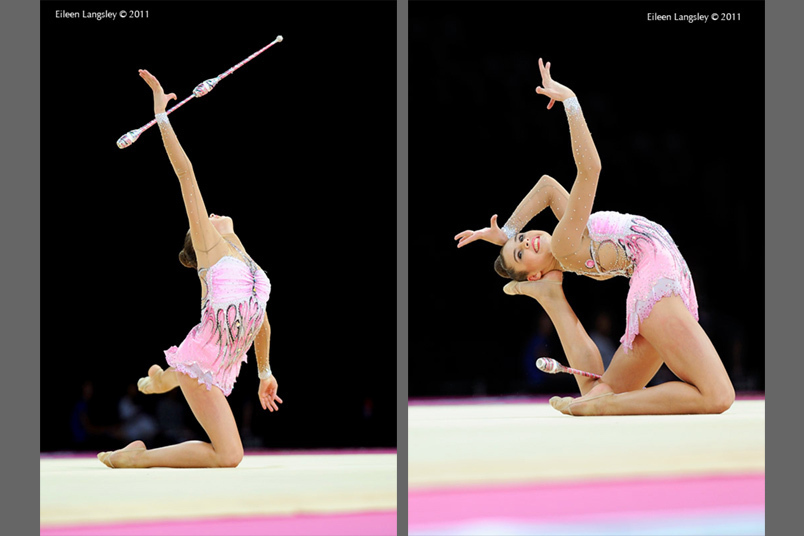 Alexandra Merkulova (Russia) competing with Clubs at the World Rhythmic Gymnastics Championships in Montpellier.