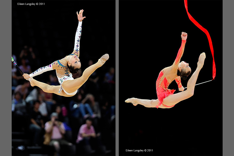 Yuria Onuki (Japan) left and Ganna Rizatdinova (Ukraine) right, perform backward looking leaps during their routines.