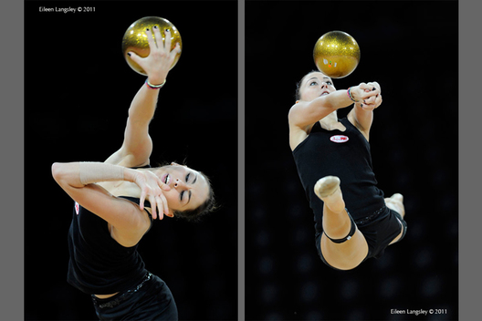 Daria Kondakova (Russia) during training with Ball at the World Rhythmic Gymnastics Championships in Montpellier.