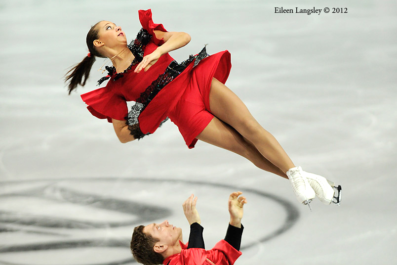 Lubov Bakirova and Mikalai Kamianchuk (Belarus)competing the Pairs event at the 2012 European Figure Skating Championships at the Motorpoint Arena in Sheffield UK January 23rd to 29th.