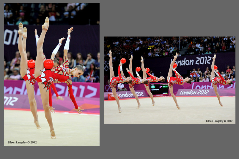 The group from the Ukraine competing in the Rhythmic Gymnastics competition of the London 2012 Olympic Games.