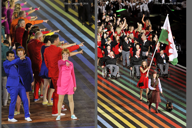 Performers at the Opening Ceremony of the 2014 Glasgow Commonwealth Games and the team from Wales with flag bearer Frankie Jones.