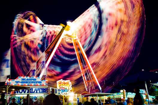 Carnival ride in motion at the Montgomery County Agricultural Fair in Gaithersburg, Maryland