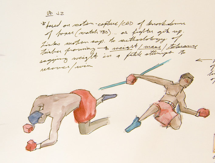 "My fascination with boxing and its relation to the life of an artist. This drawing was the origination point for the work ""This Is Not a Love Song""