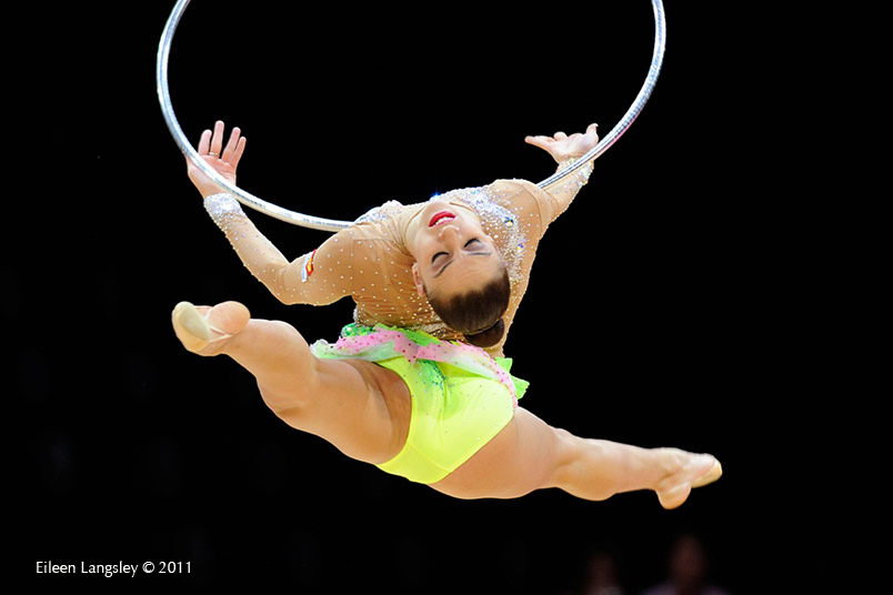 Evgenia Kanaeva (Russia) competing with Hoop at the World Rhythmic Gymnastics Championships in Montpellier.