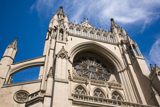 Exterior of the Washington National Cathedral in Washington, DC