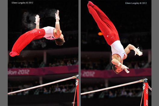 Jonathan Horton (USA) competing on high bar at the Gymnastics competition of the London 2012 Olympic Games.