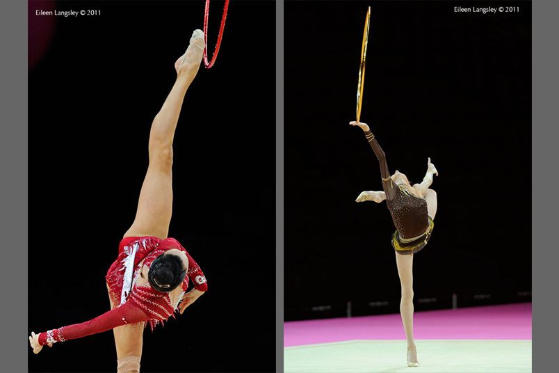 Lioubou Charkashina (Belarus) left and Viktoriya Mazur (Ukraine) right, show perfect control of the Hoop while competing at the 2011 World Rhythmic Gymnastics Championships in Montpellier.