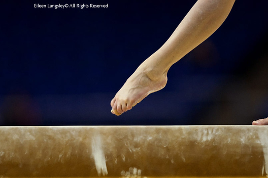 A generic image of the feet of a gymnast competing on the balance beam at the 2009 London World Artistic Gymnastics Championships at the 02 arena.
