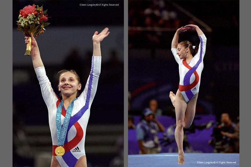 A double image of Andrea Raducan (Romania) celebrating winning the gold medal in the women's gymnastics event at the Sydney 2000 Olympic Games the day before she failed a drug test and also competing on Floor.