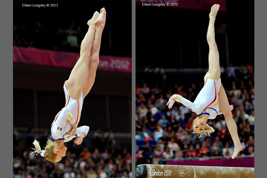 Sandra Izbasa (Romania) competes on Balance Beam during the women's team competition at the 2012 London Olympic Games.