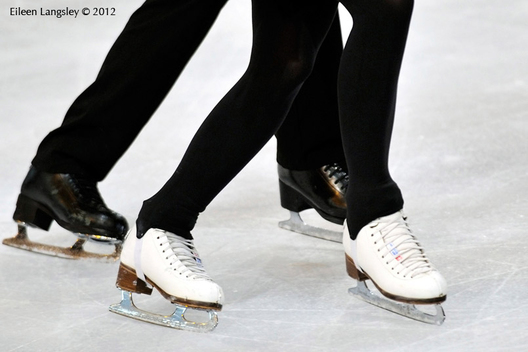 A generic image of the boots and blades of ice dancers during training at the 2012 ISU Grand Prix Trophy Eric Bompard at the Palais Omnisports Bercy