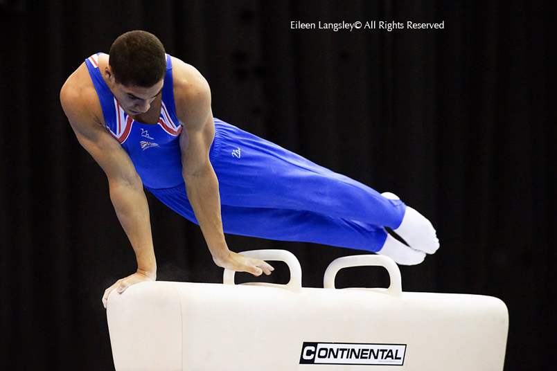 Louis Smith (Great Britain) silver medallist on the Pommel Horse at the 2010 European Gymnastics Championships in Birmingham.