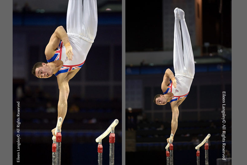Tow images taken using different lenses of Kristian Thomas (Great Britain) performing a Diamidov turn on the Rings during the 2009 London World Artistic Gymnastics Championships.