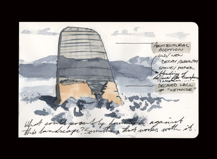 This was a drawing of the remnant stone wall of an ice-house at the Goldwell Artists Residency in Rhyolite, NV. I was thinking about building an architectural intervention here, but decided against it due to local inhabitants (snakes) being potentially against the idea. I'd love to return and make this a reality one day