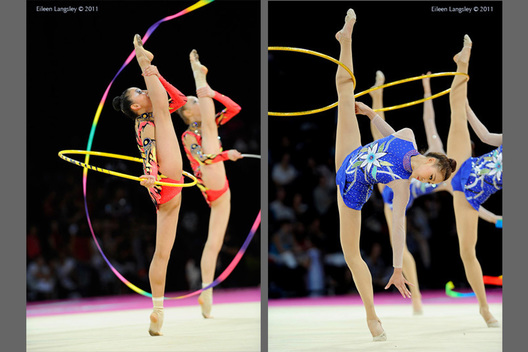 Gymnasts from the gorups of Kazakhstan (left) and Korea (right) show maximum amplitude while competing at the World Rhythmic Gymnastics Championships in Montpellier.