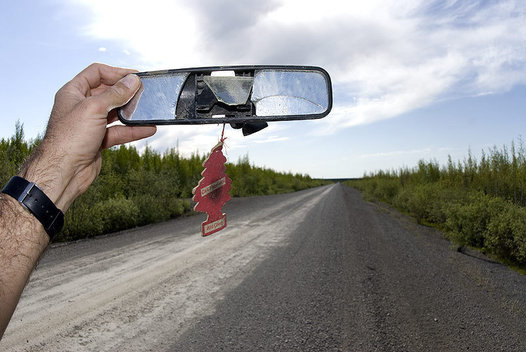 Rear view mirror, Dempster Highway