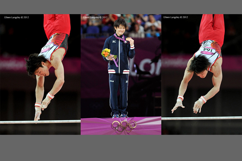 Kohei Uchimura (Japan) competing on High Bar and after receiving his gold medal during the men's all around competition at the 2012 London Olympic Games.