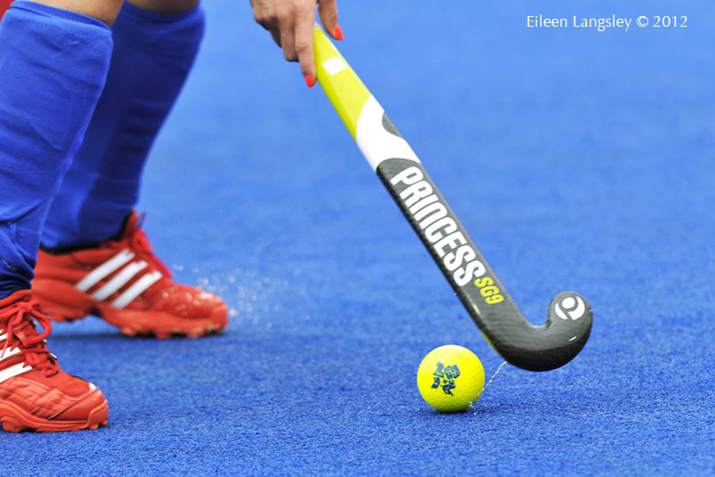 A cropped generic image of the logo on a Hockey ball during a game at the London 2012 Olympic Games.