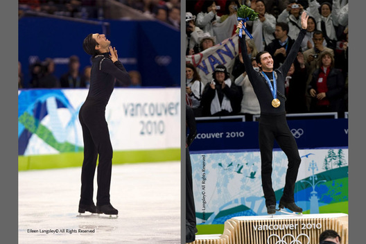 A double image of Evan Lysacek (USA) showing a moment of hope in his free programme (left) and with the gold medal during the award ceremony (right) at the 2010 Winter Olympic Games in Vancouver.