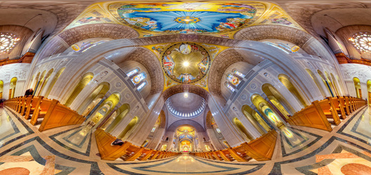 360-degree high dynamic range panorama of the awesome interior of the Basilica of the National Shrine of the Immaculate Conception in Washington, DC.  Built on land donated by the Catholic University of America, the Basilica of the National Shrine of the Immaculate Conception is North America's largest Roman Catholic church and 10th largest church in the world.