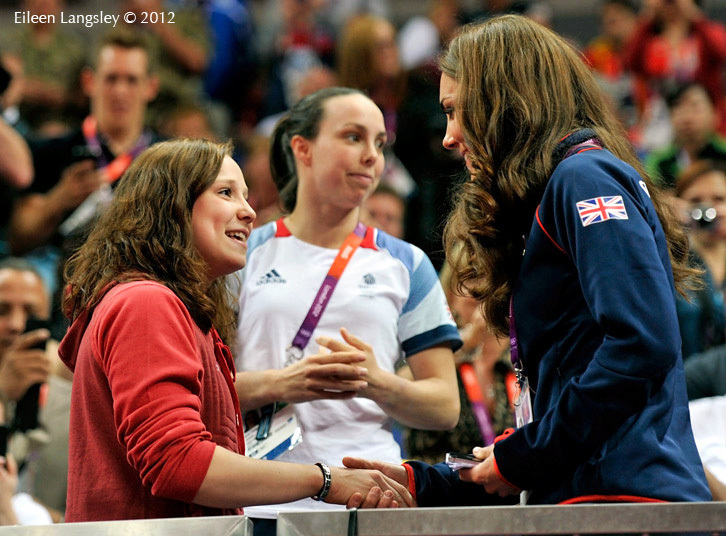 The Duchess of Cambridge meets Hannah Whelan and Beth Tweddle during the men's team competition of the Gymnastics event at the London 2012 Olympic Games.