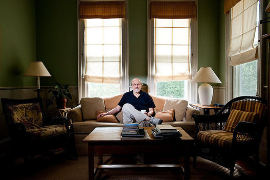 Author E.L. Doctorow in the living room of his home in Sag Harbor, NY
