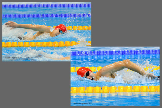 Brothers Oliver (left) and Sam (right) competing during the 400 metres freestyle S8 race in the swimming competition at the 2012 London Paralympic Games.