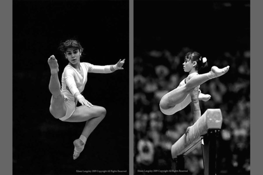 A double page image of Romanian gymnasts Mirela Sidon and Aurelia Dobre competing in the 1987 World Gymnastics Championships in Rotterdam.