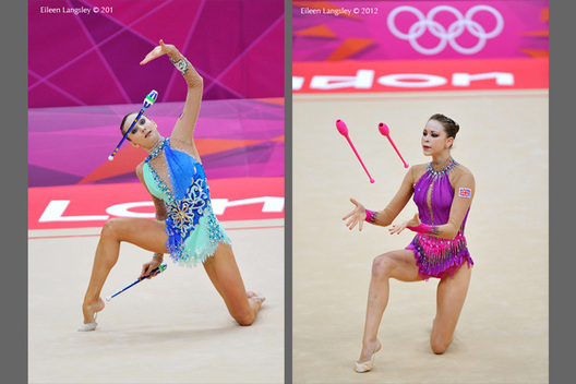 Lioubou Charkashyna (Belarus) left and Frankie Jones (Great Britain) right competing with Clubs during the Rhythmic Gymnastics competition of the London 2012 Olympic Games.