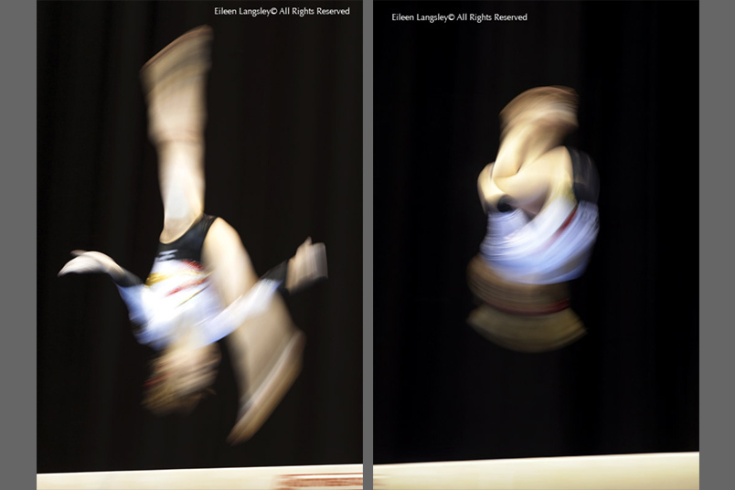 A double image of blurred mtion images on the Balance Beam - a Barani (left) and a tucked back somersault (right).
