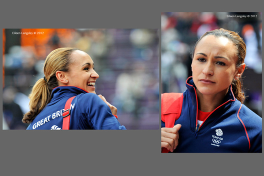 Jessica Ennis (Great Britain) at the start and end of the first day of the Heptathlon at the 2012 London Olympic Games.