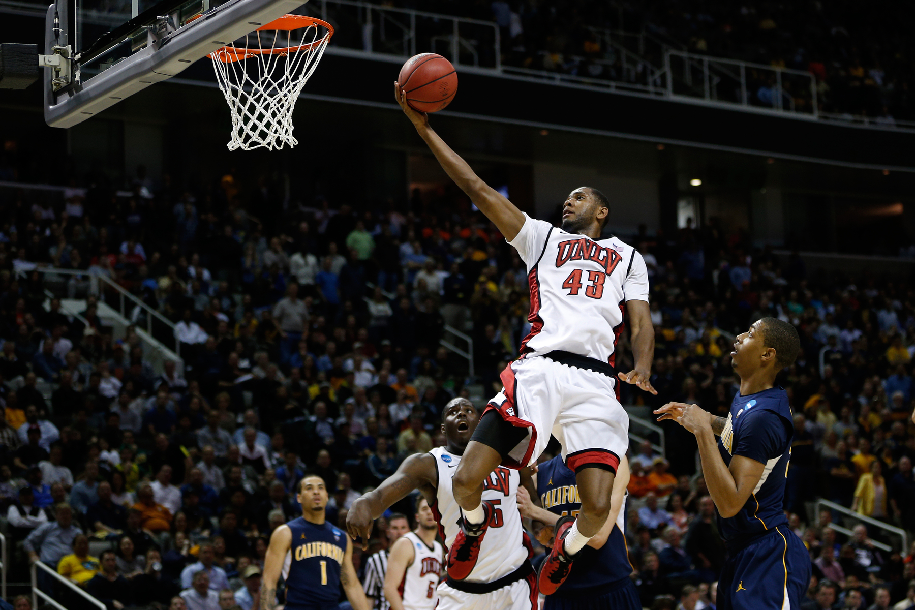 UNLV Rebels forward Mike Moser (43) goes for a layout during the second-round game of his NCAA college basketball tournament against California Golden Bears at HP Pavilion in San Jose, Calif. on Thursday, March 21, 2013.