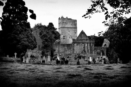 Abandoned castle and cemetary in Southern Ireland in 2009