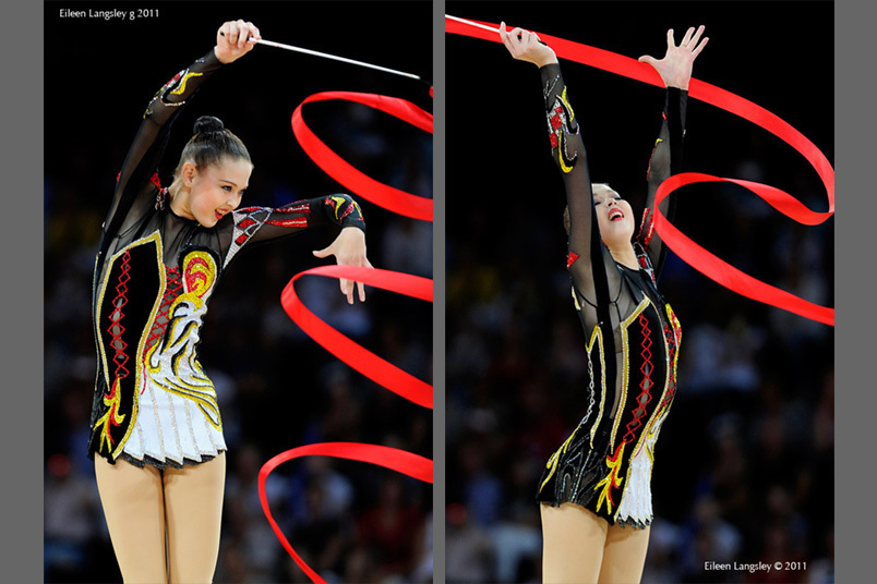 Alina Maksymenko (Ukraine) competing with Ribbon at the World Rhythmic Gymnastics ChampioAustrianships in Montpellier.