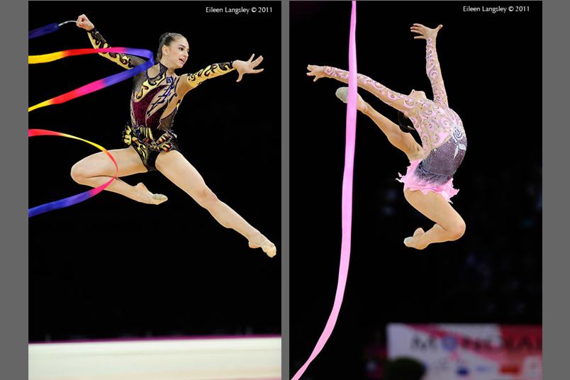 Alexandra Pisupescu (Romania) left and Lioubou Charkashina (Belarus) right, appear to be dancing in the air while competing with Ribbon at the 2011 World Rhythmic Gymnastics Championships in Montpellier.