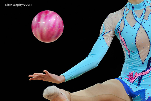 A cropped generic image of a gymnast competing with Ball.