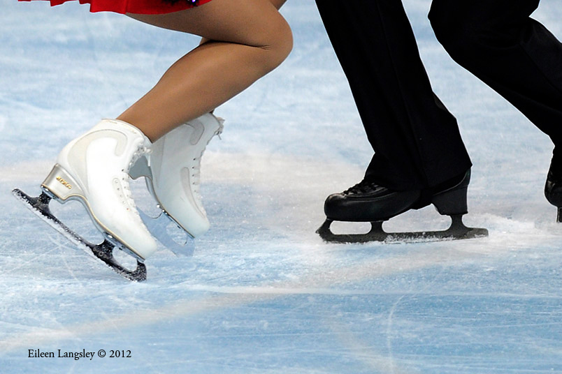 A generic image of the boots and blades of skaters competing in the Pairs event at the 2012 European Figure Skating Championships at the Motorpoint Arena in Sheffield UK January 23rd to 29th.