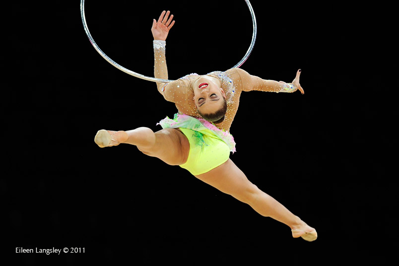 Evgenia Kanaeva (Russia) competing with Hoopat the World Rhythmic Gymnastics Championships in Montpellier.