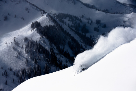 Drew Petersen skiing deep powder in the Wasatch Mountains, Utah
