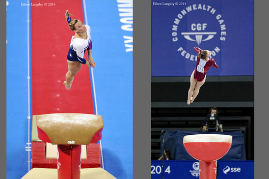 Emma White (Scotland) and Kelly Simm (England) competing on vault at the Gymnastics competition of the 2014 Glasgow Commonwealth Games.