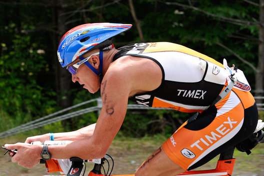 A Triathlete in the aero position during the 2009 Ironman Lake Placid Triathlon