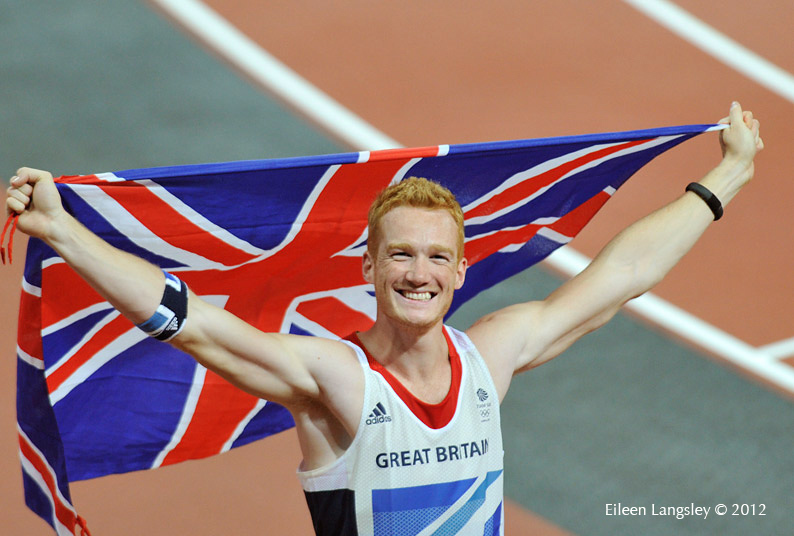 Greg Rutherford (Great Britain) celebrates winning the gold medal in the Long Jump at the 2012 London Olympic Games.