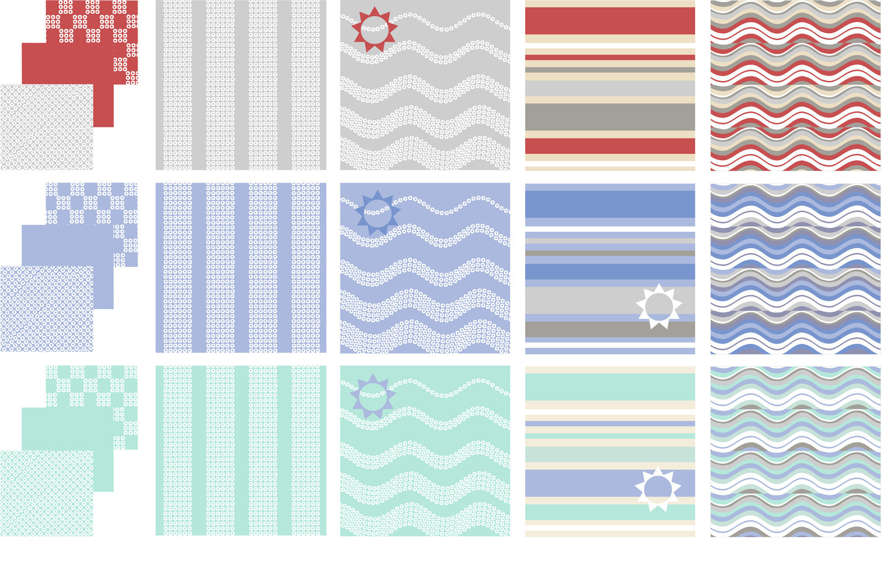 Surface pattern for Spring/Summer products, shown working across three colourways.