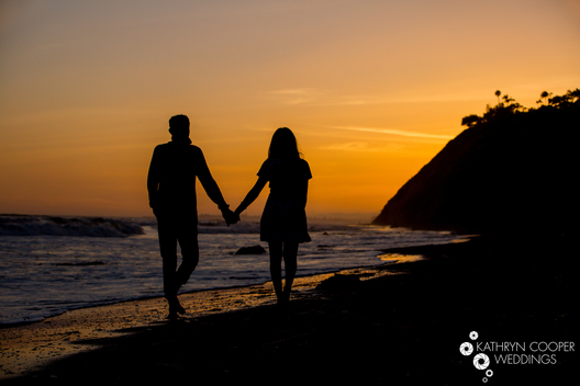 Malibu engagement photos on the beach, couple at sunset in California - Kathryn Cooper Weddings