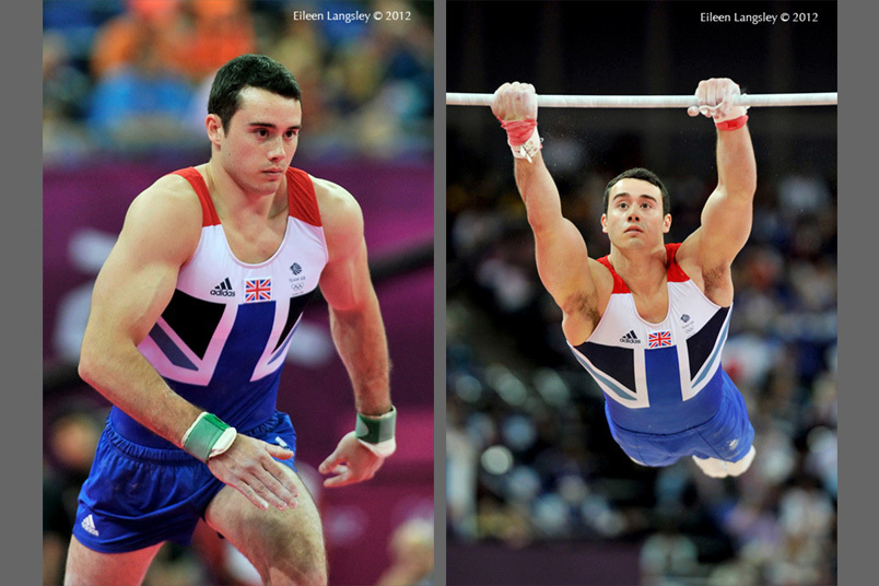 Kristian Thomas (Great Britain) at the start of his vault and high bar routine during the team competition at the 2012 London Olympic Games.