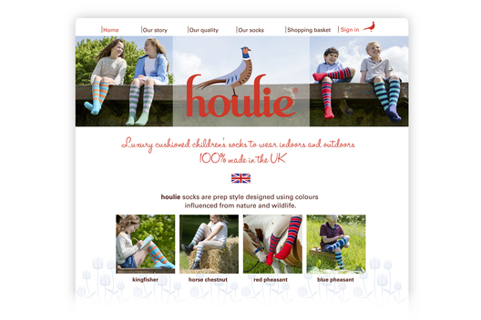 Web design for Houlie, a children's luxury sock company.