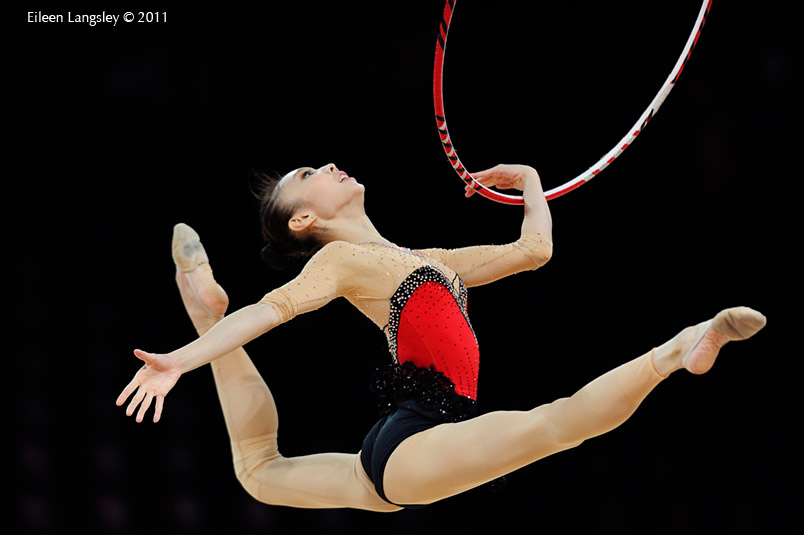 Yang Yuqin (China) competing with Hoop at the World Rhythmic Gymnastics Championships in Montpellier.